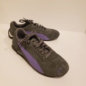 Puma Speed Cat Gray and Purple Suede Sneakers